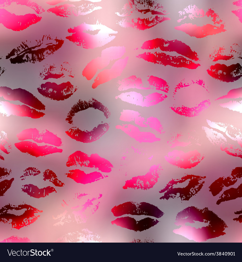 Kisses pattern on red blur background vector | Price: 1 Credit (USD $1)