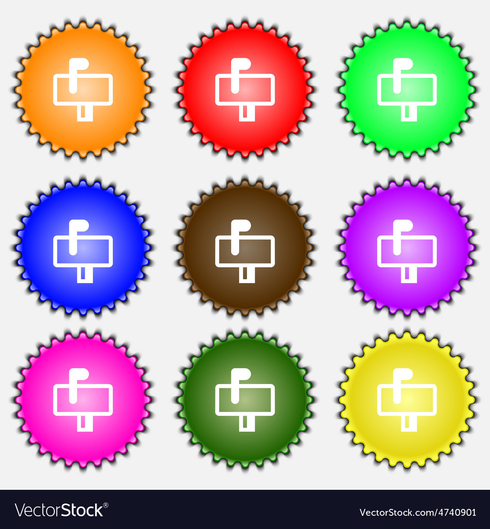 Mailbox icon sign a set of nine different colored vector
