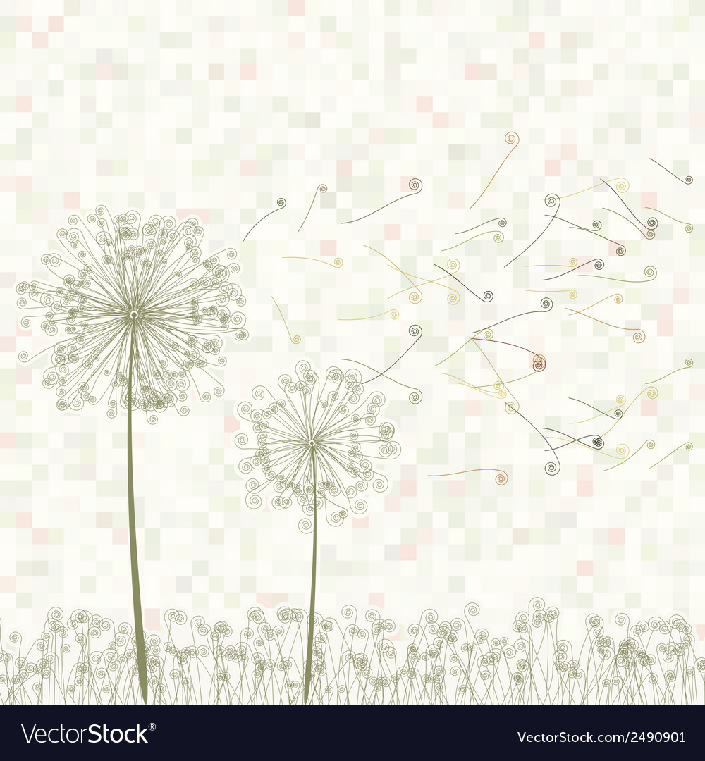 Retro greeting card with flowers eps 8 vector | Price: 1 Credit (USD $1)