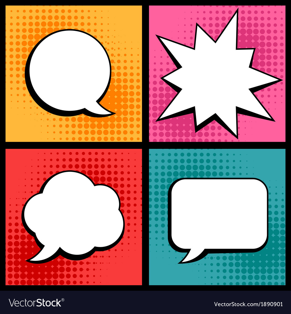 Set of speech bubbles in pop art style vector | Price: 1 Credit (USD $1)