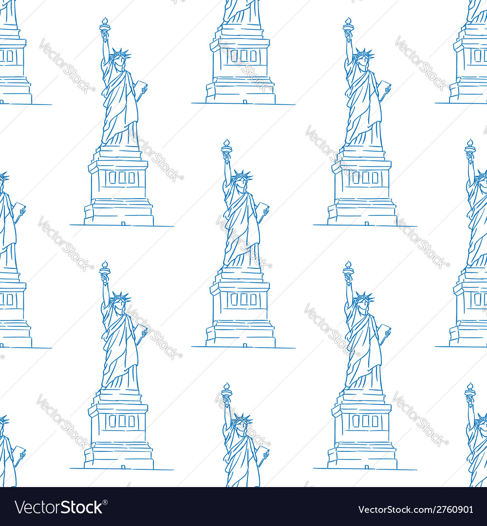 Statue of liberty seamless pattern vector | Price: 1 Credit (USD $1)