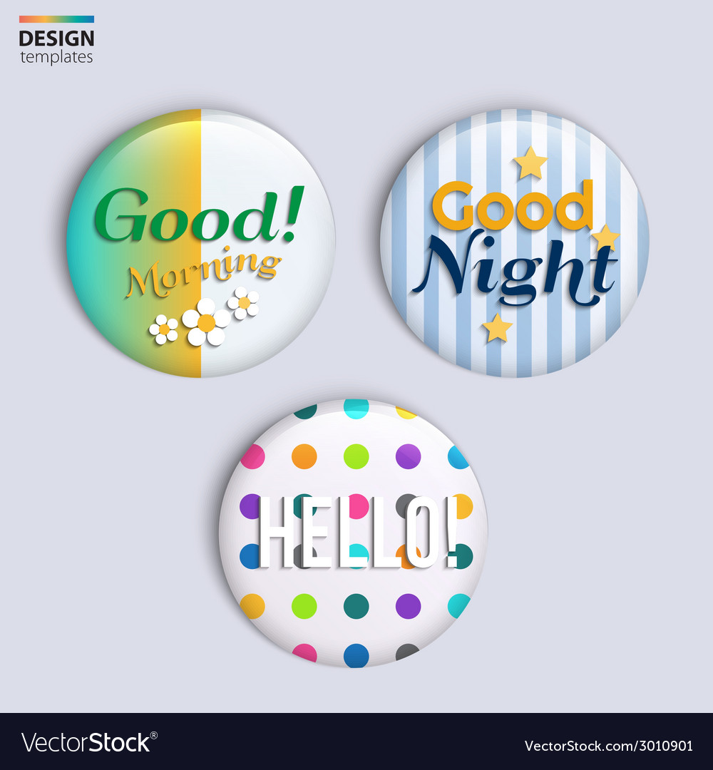 Three colorful glossy badges with text vector | Price: 1 Credit (USD $1)