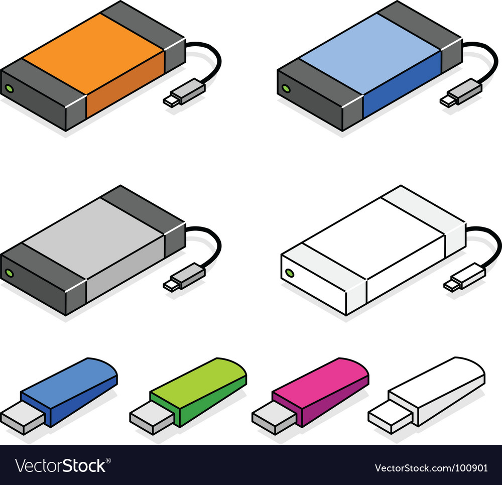 Usb storage devices vector | Price: 1 Credit (USD $1)