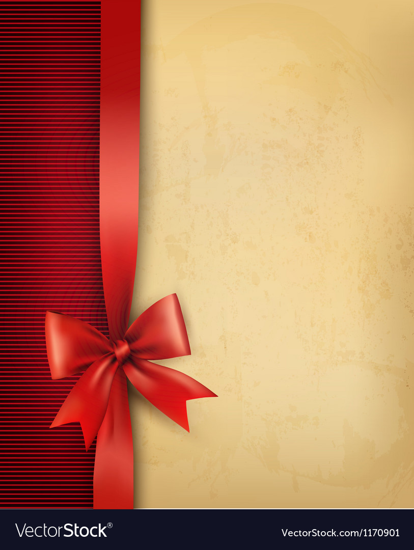 Vintage background with red gift bow and ribbon on vector | Price: 1 Credit (USD $1)