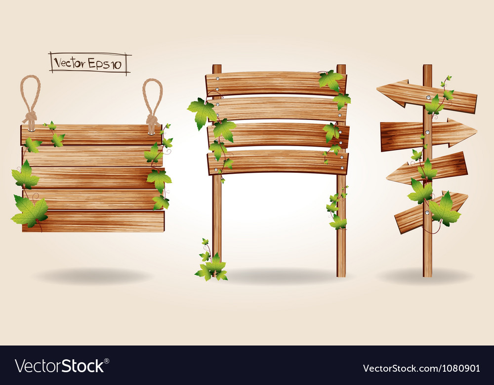 Wooden signs with green leaves decorative elements vector | Price: 1 Credit (USD $1)
