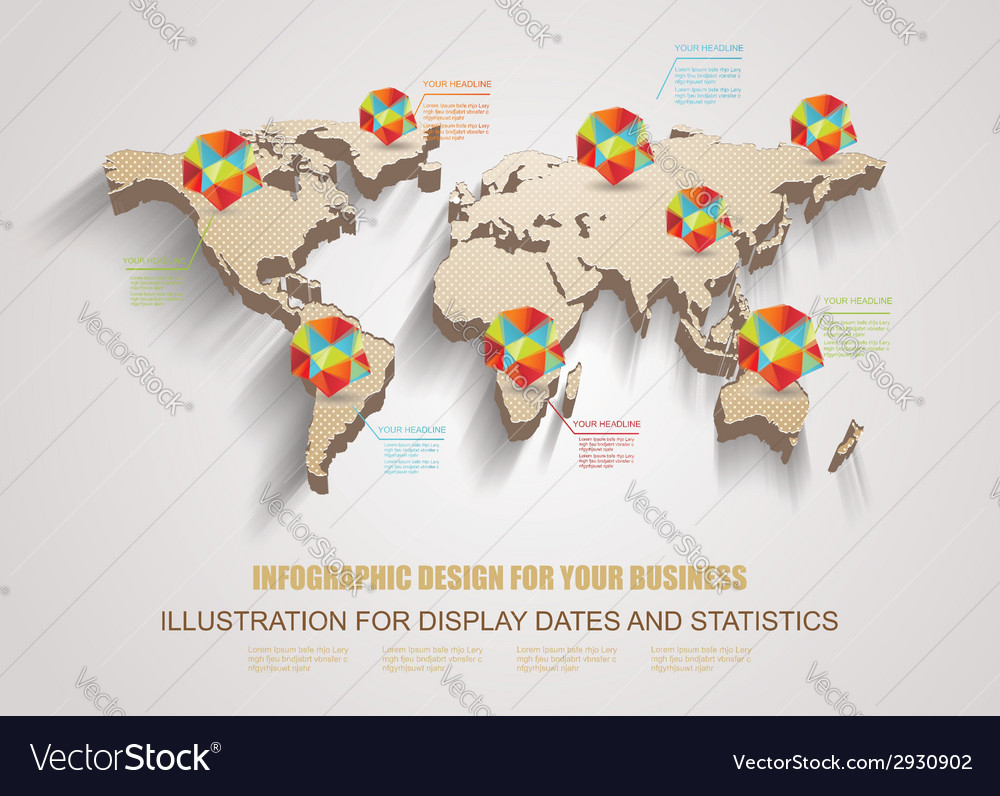 3d world map with modern elements of info gr vector | Price: 1 Credit (USD $1)