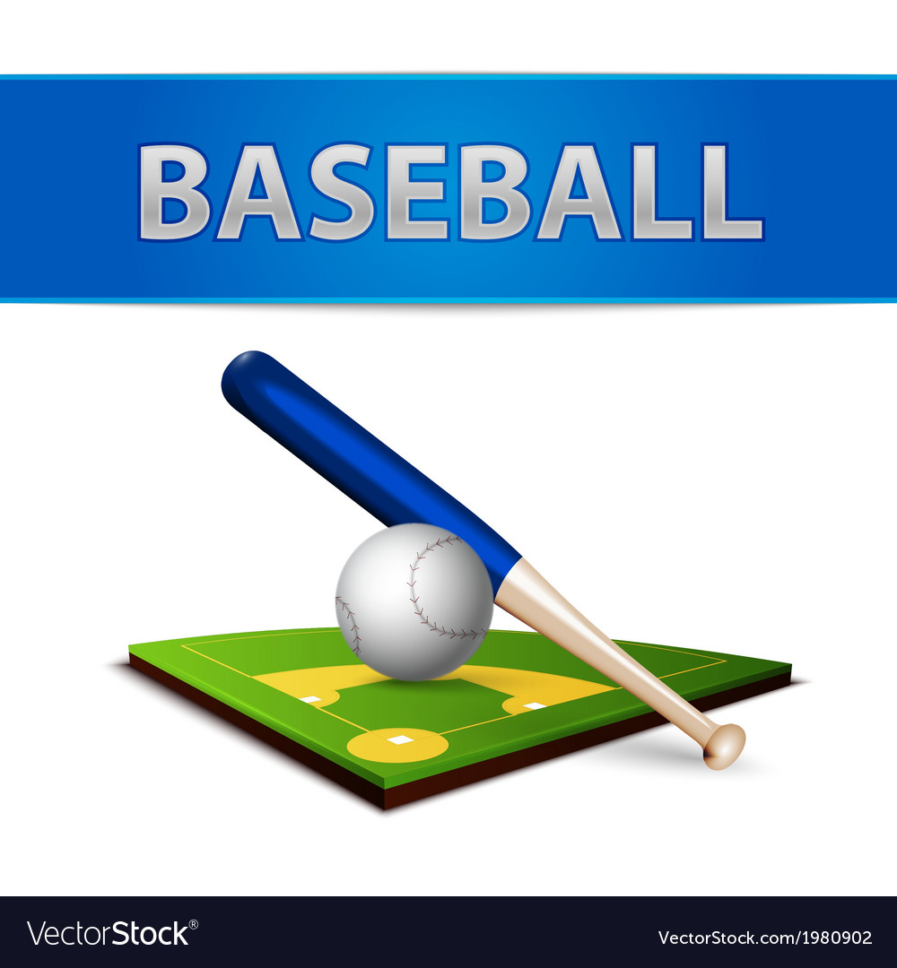 Baseball ball bat and green field emblem vector | Price: 1 Credit (USD $1)