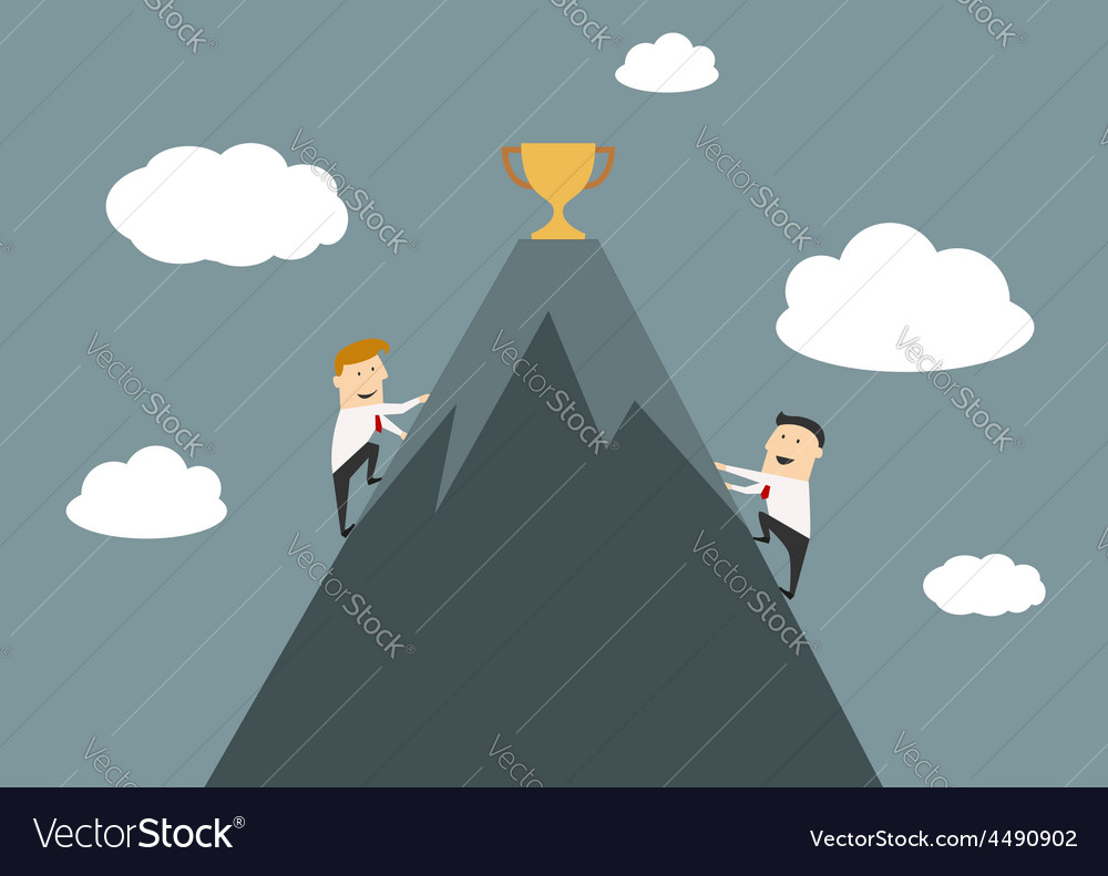 Businessmen climbing to the top of success vector | Price: 1 Credit (USD $1)