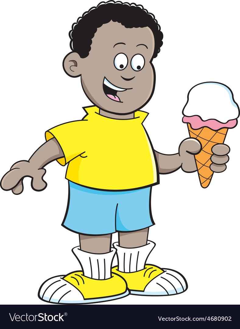 Cartoon african boy eating an ice cream cone vector | Price: 1 Credit (USD $1)