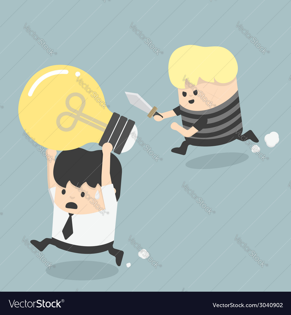 Concepts cartoons thief stealing idea businessman vector | Price: 1 Credit (USD $1)