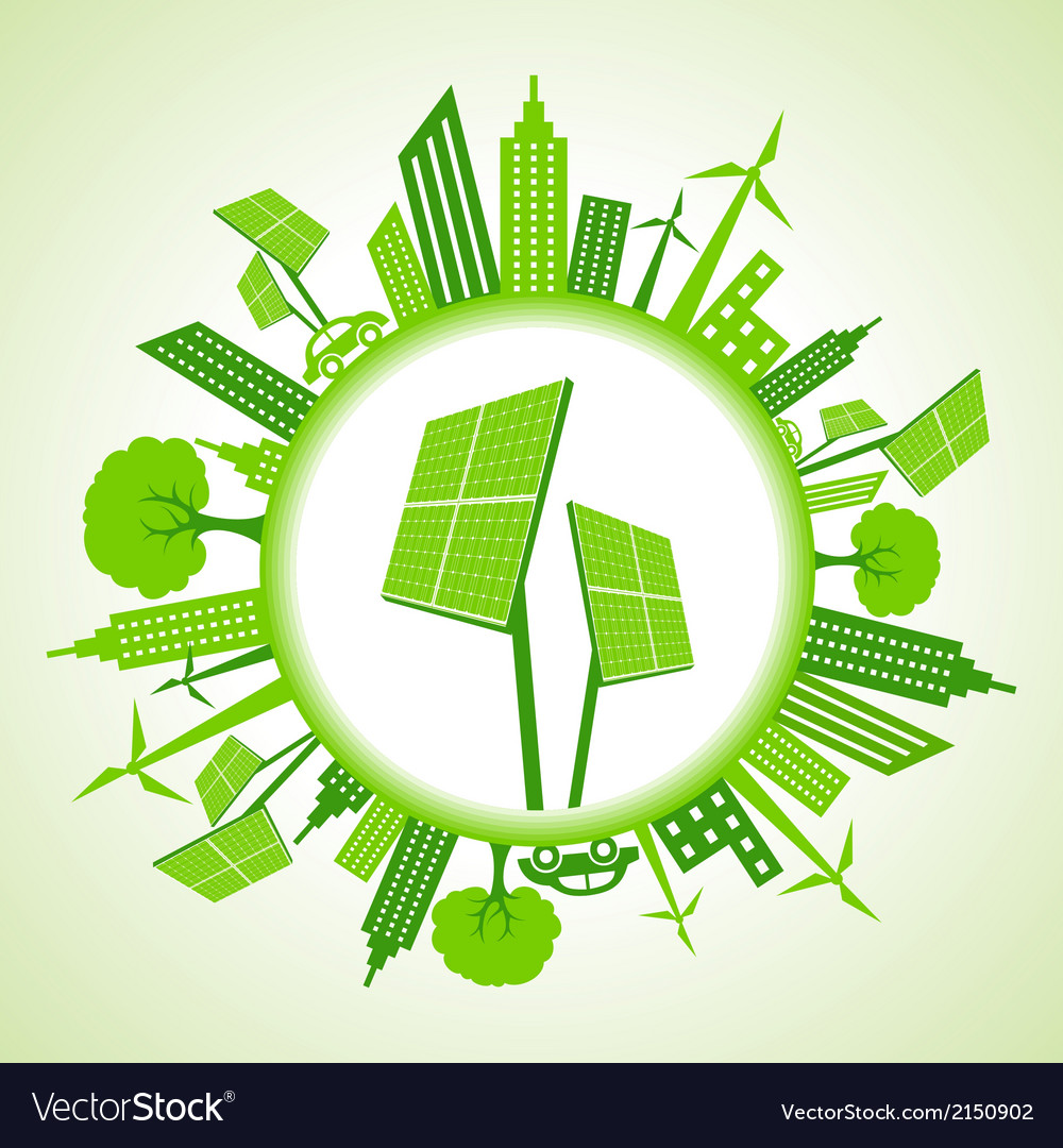 Eco cityscape with solar panel vector | Price: 1 Credit (USD $1)