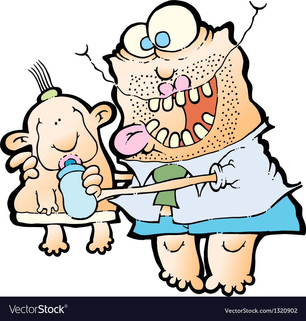 Father feeding baby vector | Price: 1 Credit (USD $1)