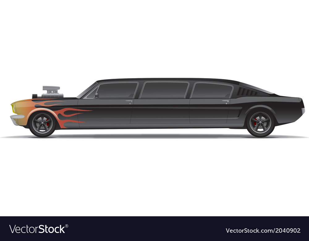 Muscle car limo with flames vector | Price: 3 Credit (USD $3)