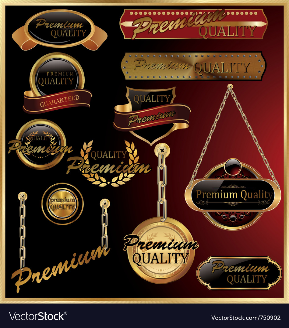 Premium quality golden framed labels vector | Price: 1 Credit (USD $1)