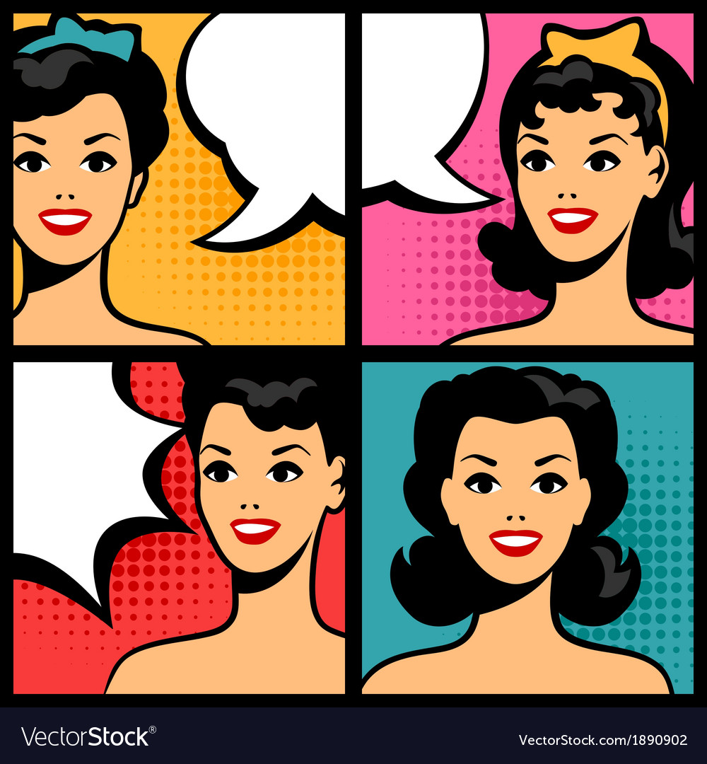 Retro girls in pop art style vector | Price: 1 Credit (USD $1)