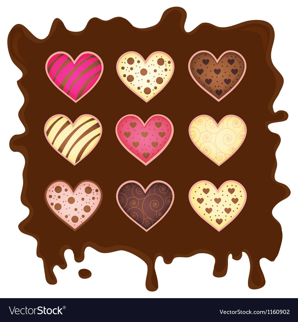 Set heart on chocolate background vector | Price: 1 Credit (USD $1)