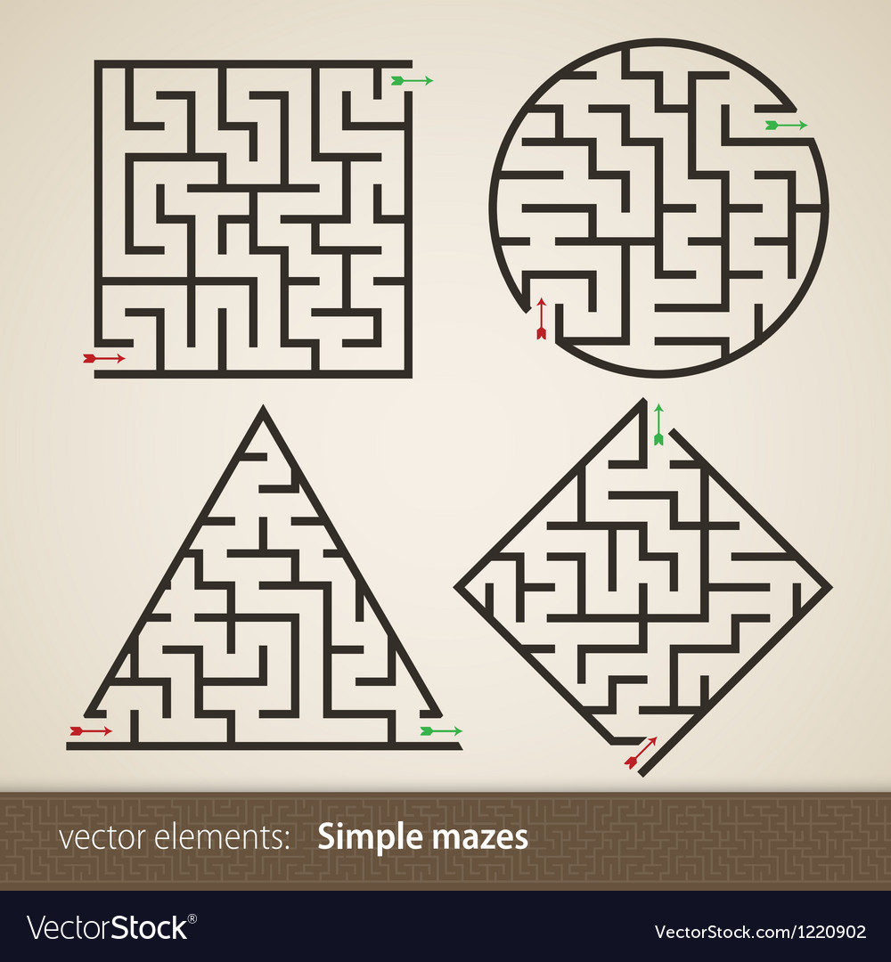 Set of four perfect maze vector | Price: 1 Credit (USD $1)