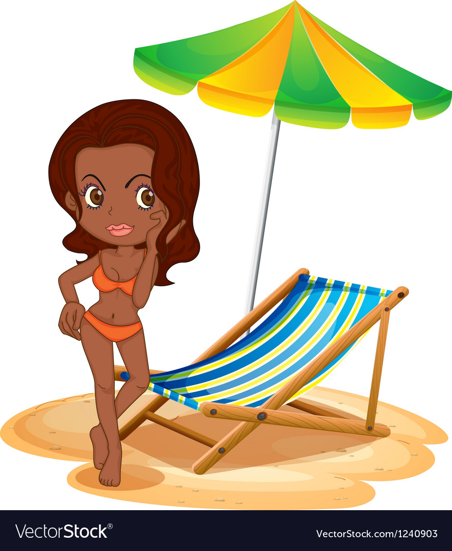 A tan lady at the beach vector | Price: 1 Credit (USD $1)
