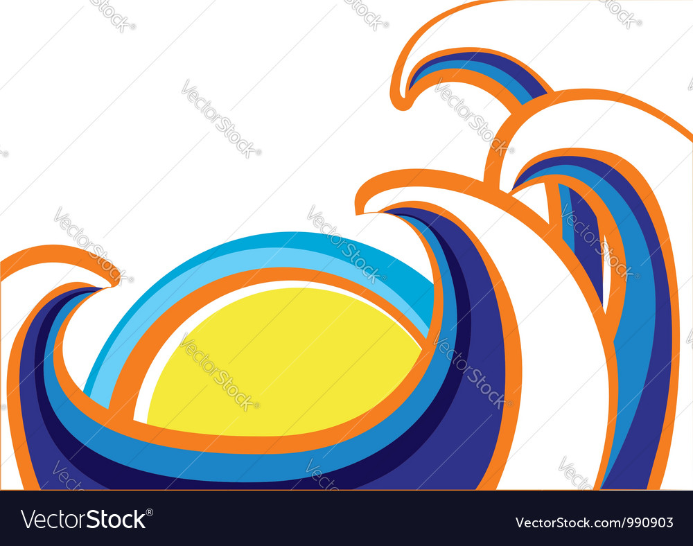 Abstract sea waves poster color on white vector | Price: 1 Credit (USD $1)