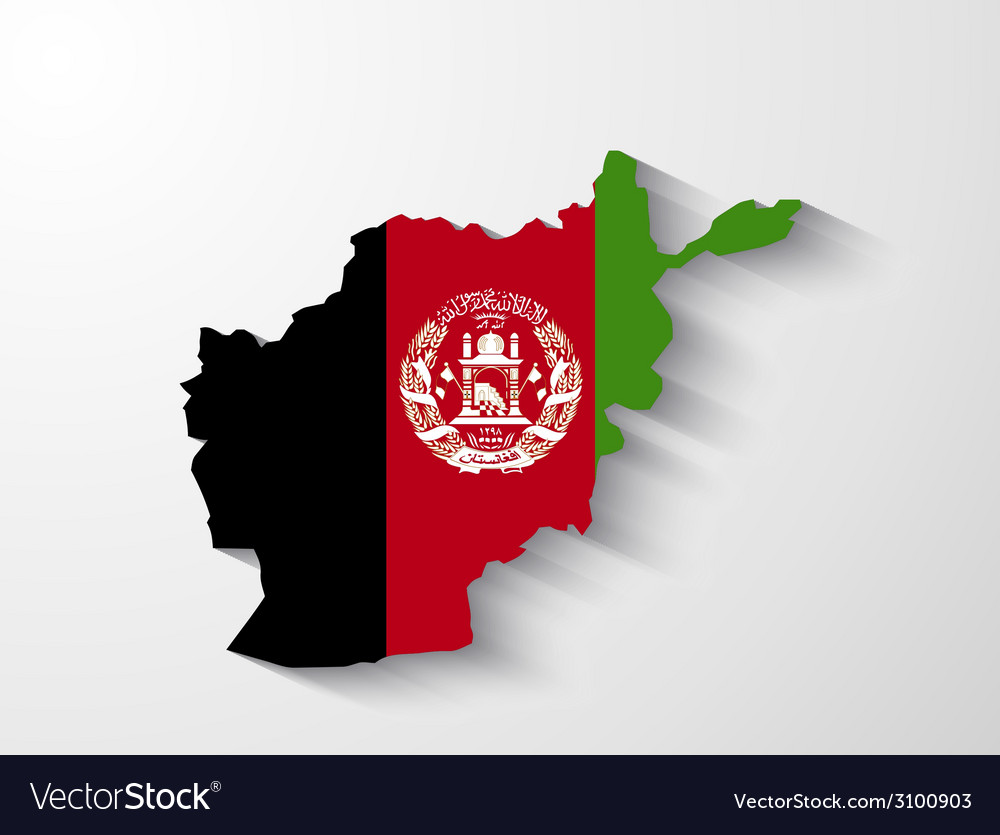 Afghanistan map with shadow effect vector | Price: 1 Credit (USD $1)