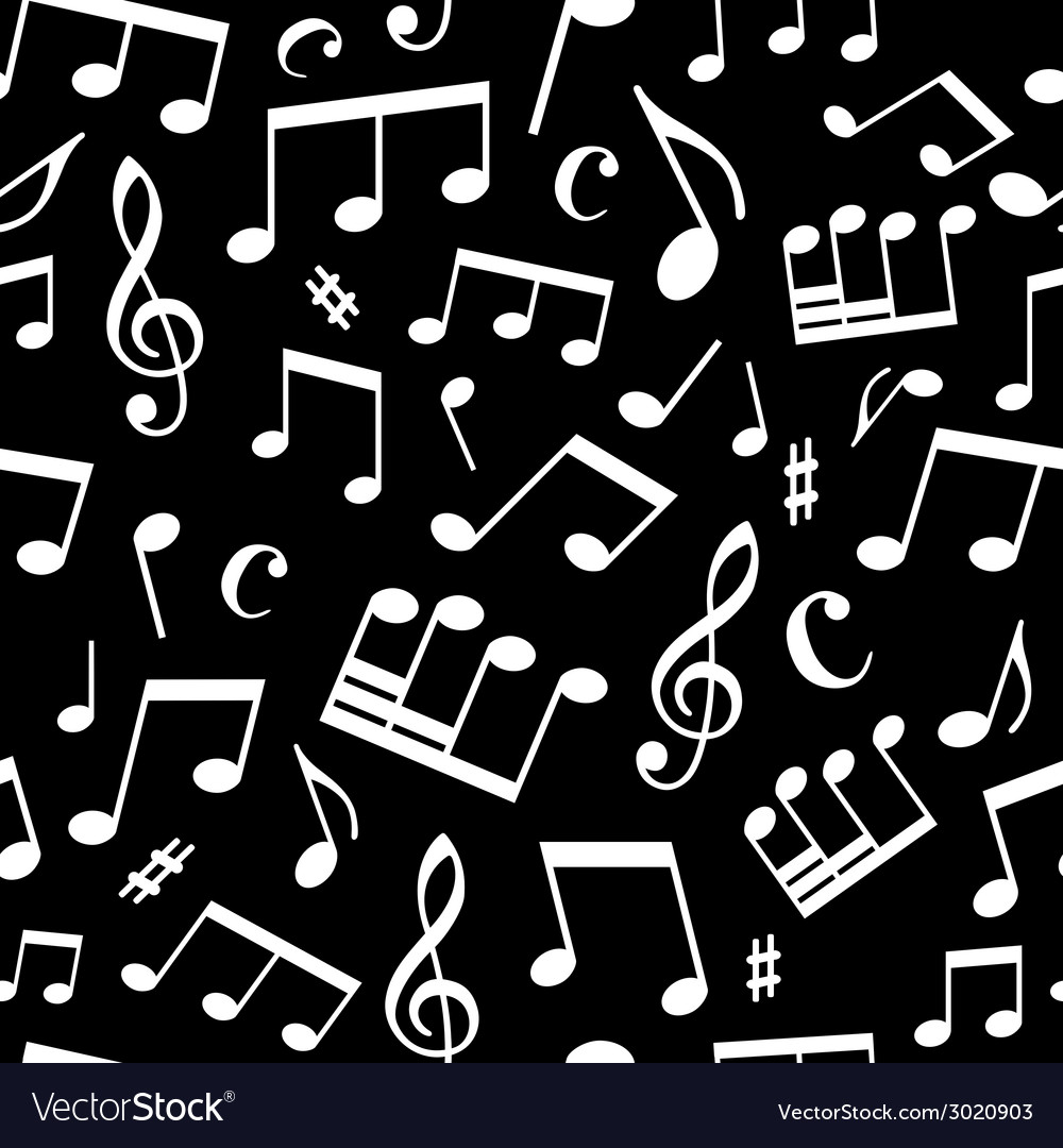 Black and white seamless music pattern vector | Price: 1 Credit (USD $1)