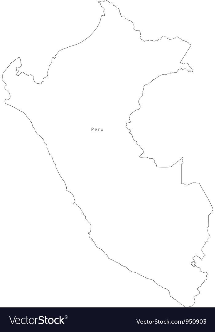 Black white peru outline map vector | Price: 1 Credit (USD $1)