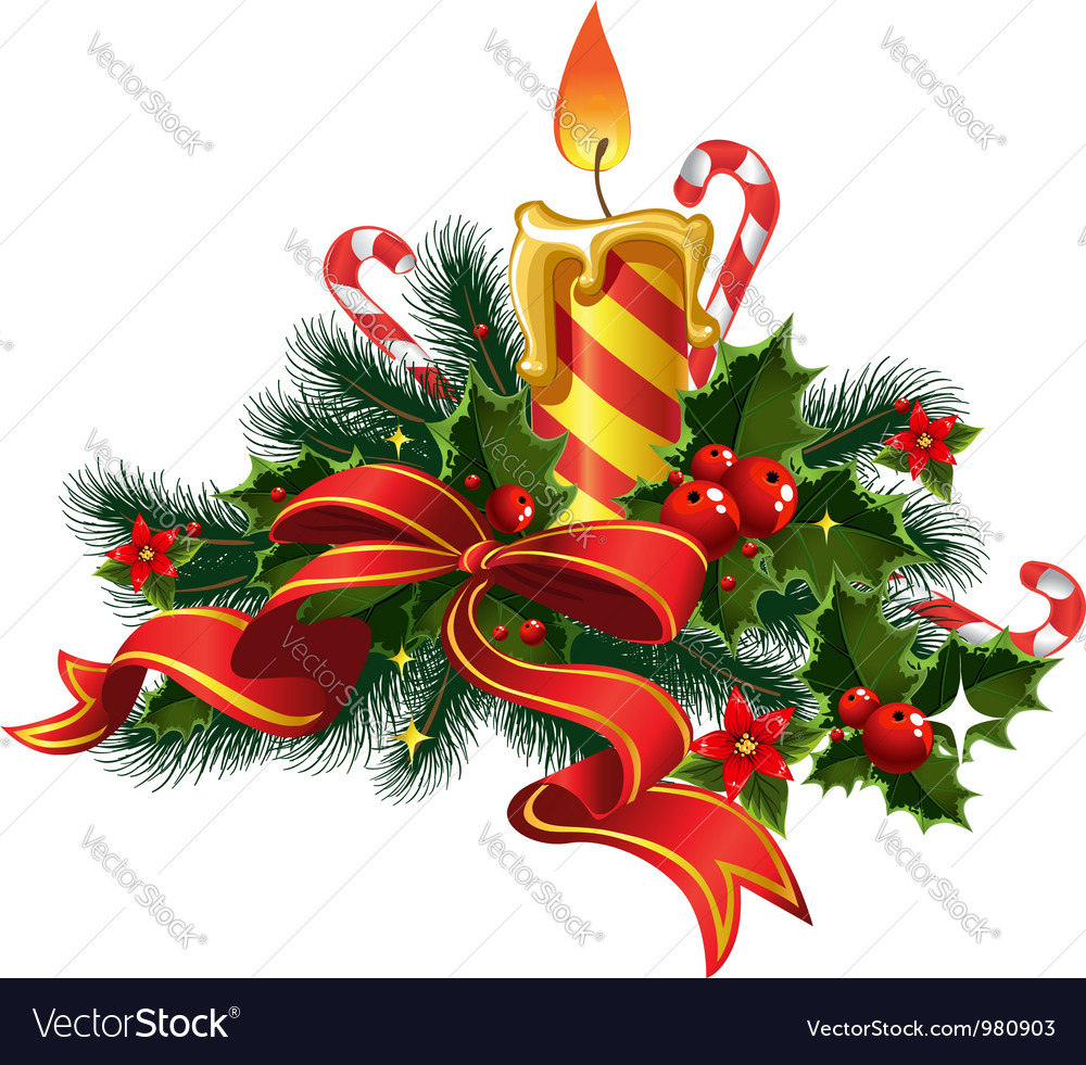 Christmas candle light vector | Price: 3 Credit (USD $3)