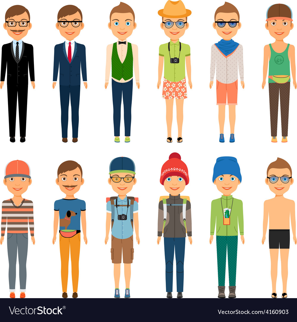 Cute cartoon boys in assorted clothing styles vector | Price: 1 Credit (USD $1)