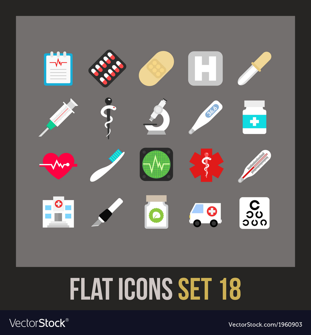 Flat icons set 18 vector | Price: 1 Credit (USD $1)
