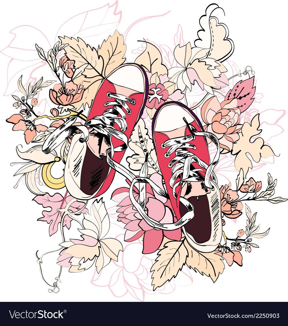 Gumshoes sketch flower vector | Price: 1 Credit (USD $1)