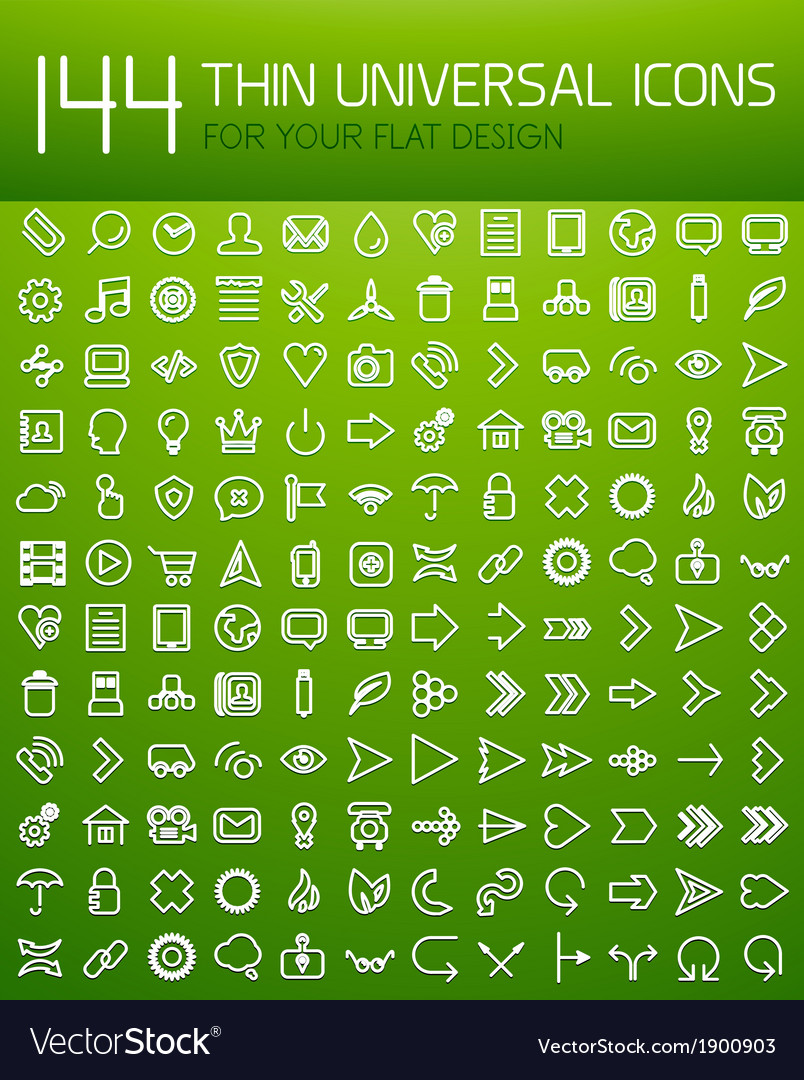 Large collection of thin universal web icon set vector | Price: 1 Credit (USD $1)