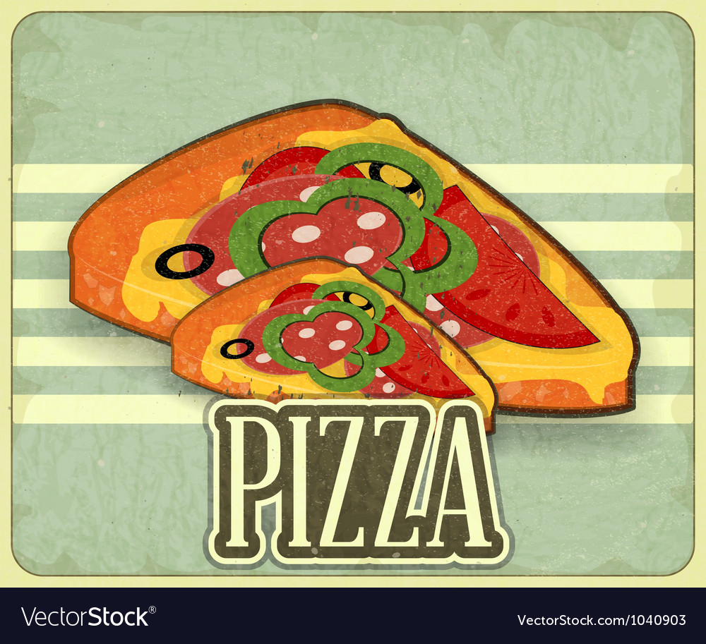 Pizza retro label vector | Price: 1 Credit (USD $1)