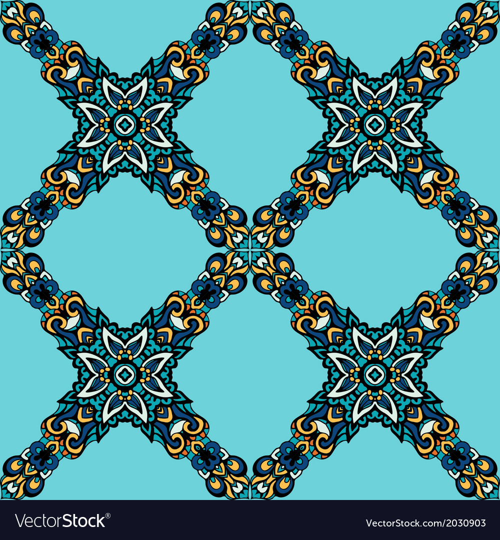 Seamless floral geometric pattern vector | Price: 1 Credit (USD $1)