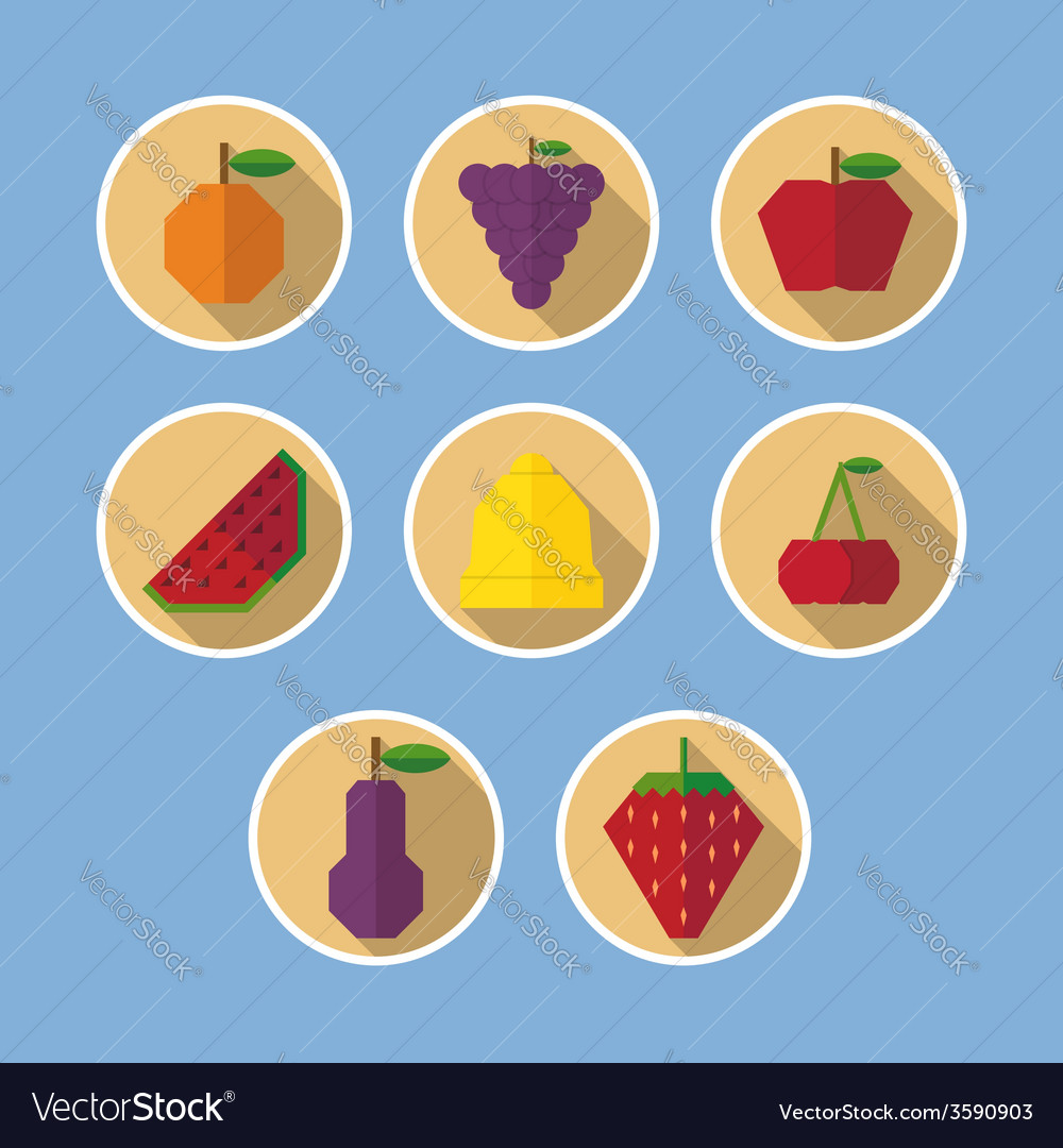 Set of fruit flat icons with long shadows vector | Price: 1 Credit (USD $1)