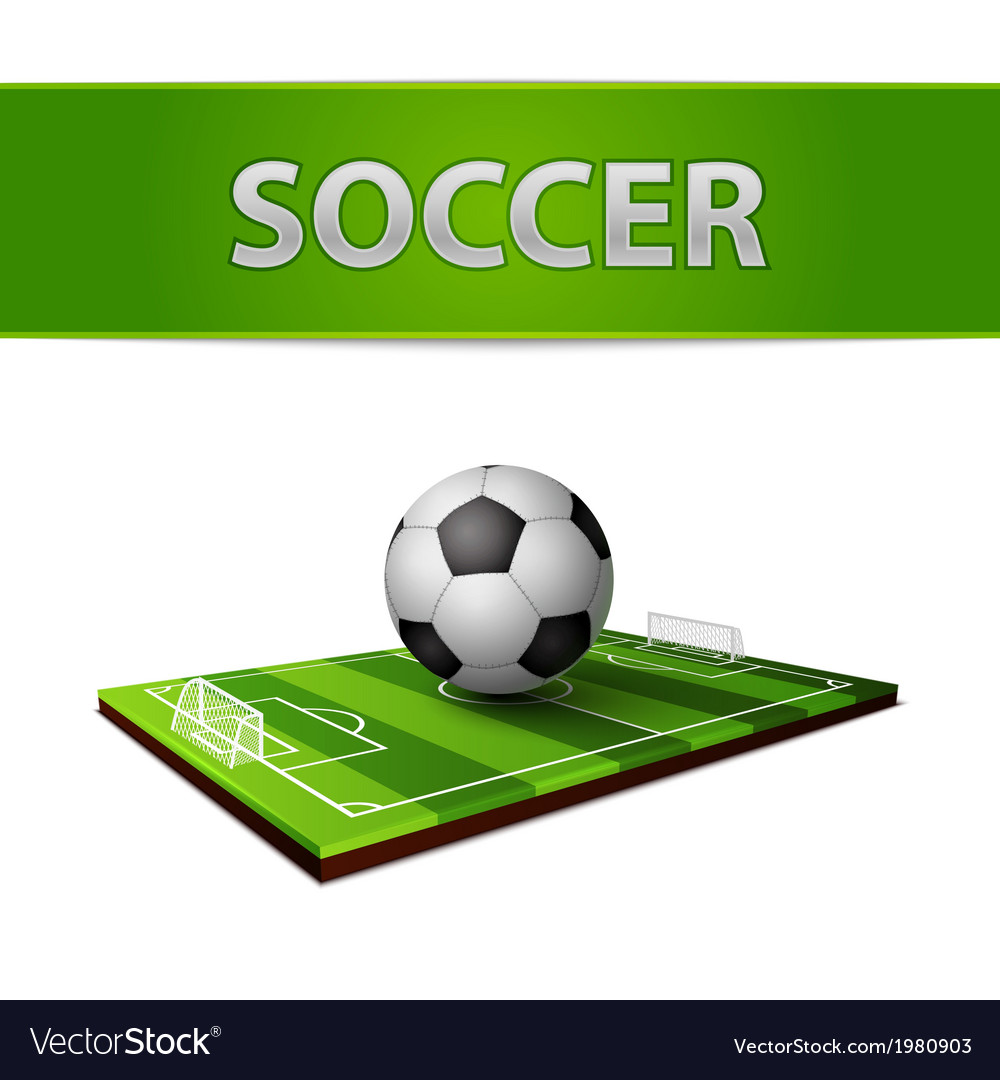 Soccer ball and grass field emblem vector | Price: 1 Credit (USD $1)