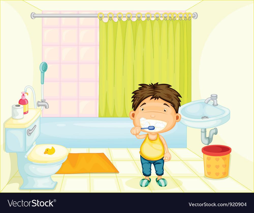 Brushing boy vector | Price: 3 Credit (USD $3)