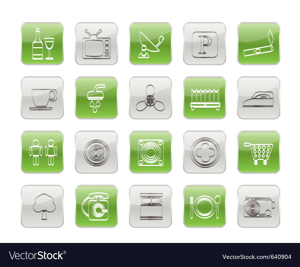Hotel and motel objects icons vector | Price: 1 Credit (USD $1)