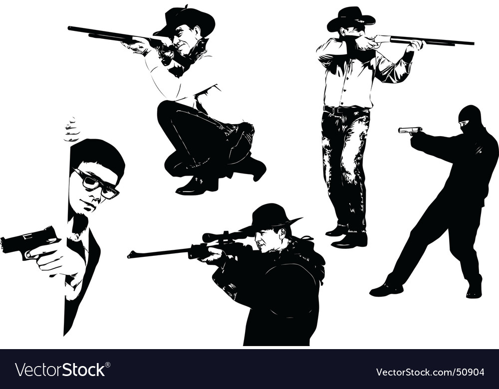 Men with gun vector | Price: 1 Credit (USD $1)