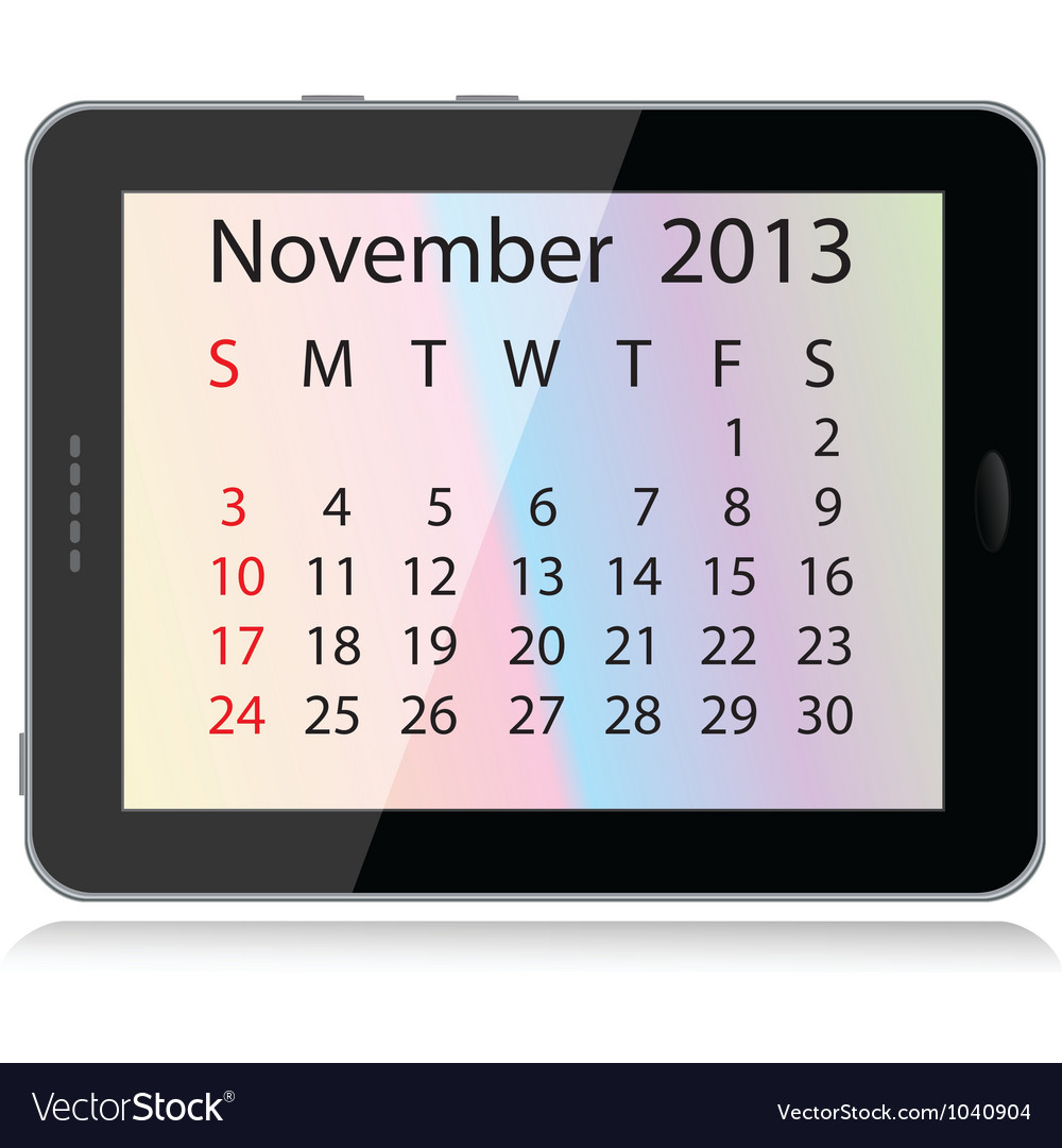 November 2013 calendar vector | Price: 1 Credit (USD $1)