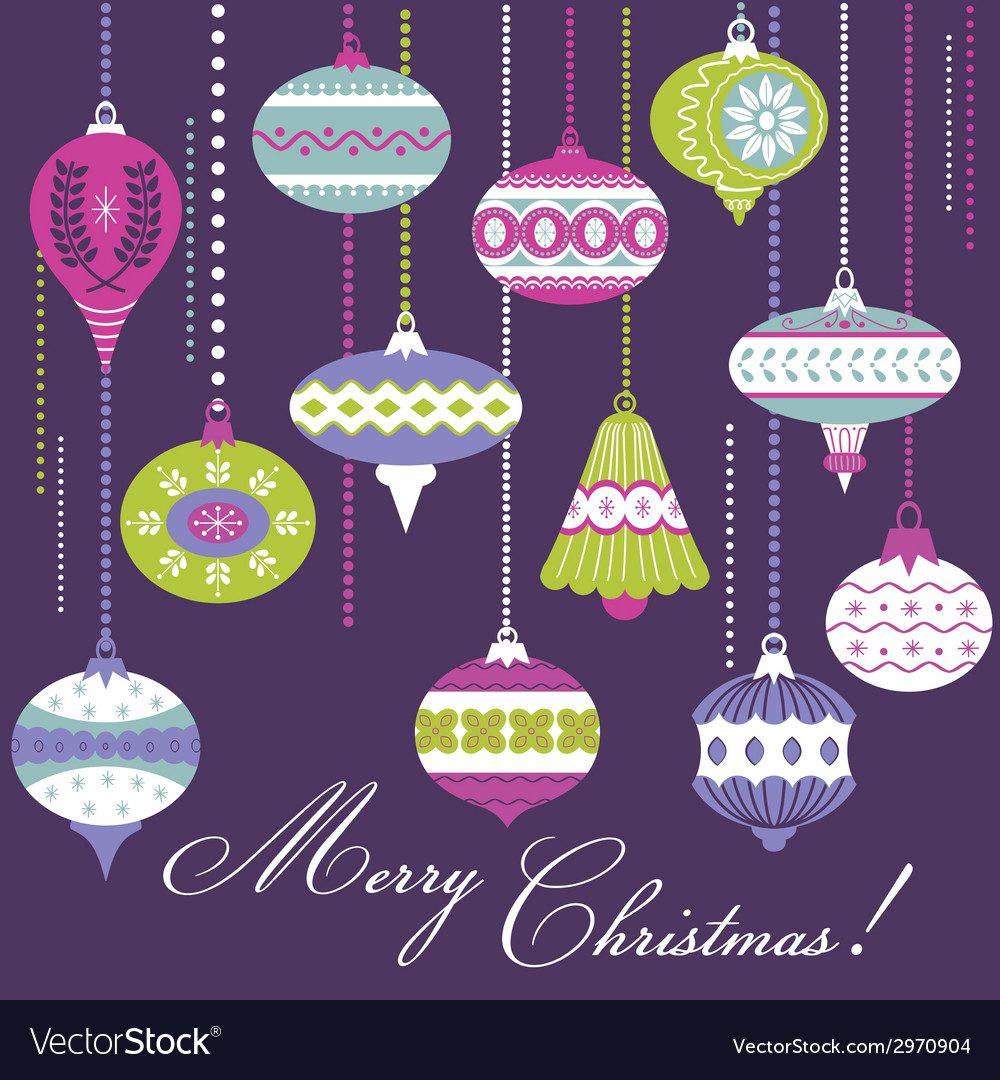 Vintage christmas tree balls - card or background vector | Price: 1 Credit (USD $1)