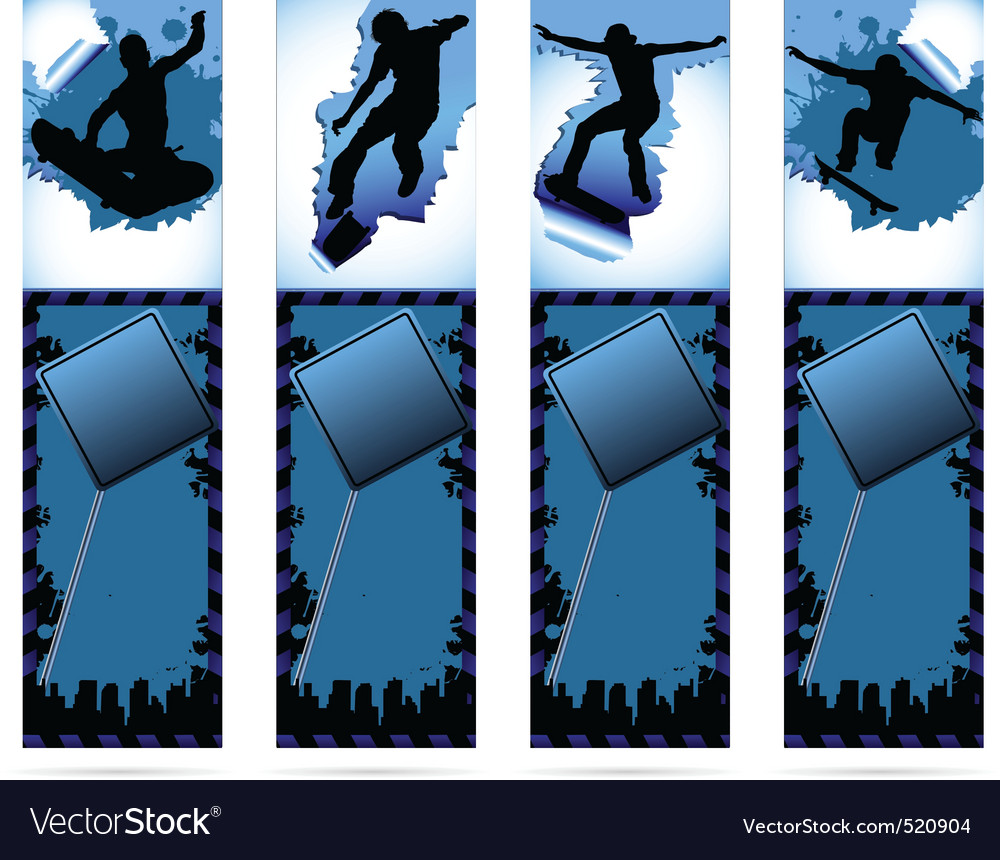 Web elements on urban grunge background with skate vector | Price: 1 Credit (USD $1)