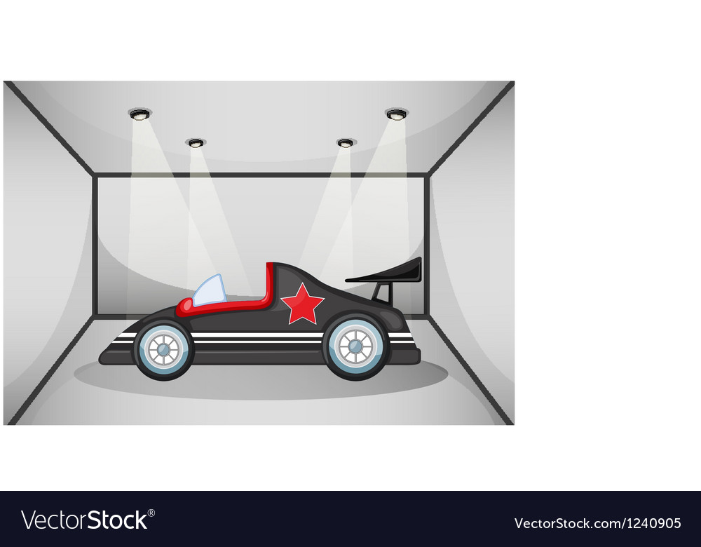 A black luxury car inside a garage vector | Price: 1 Credit (USD $1)