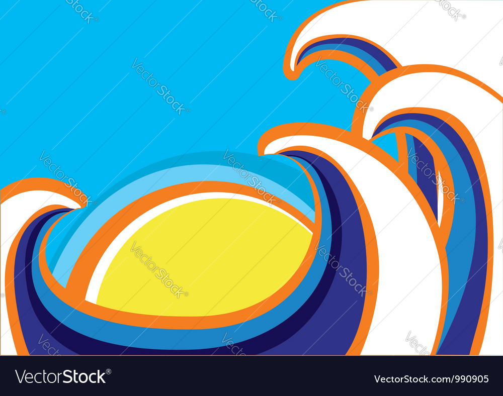 Abstract sea waves poster color vector | Price: 1 Credit (USD $1)