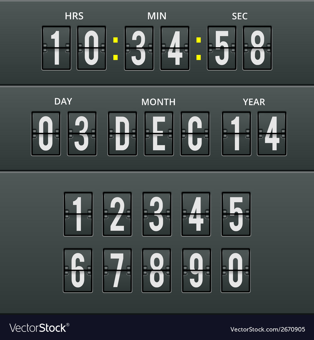 Airport characters and numbers in calendar clock vector | Price: 1 Credit (USD $1)