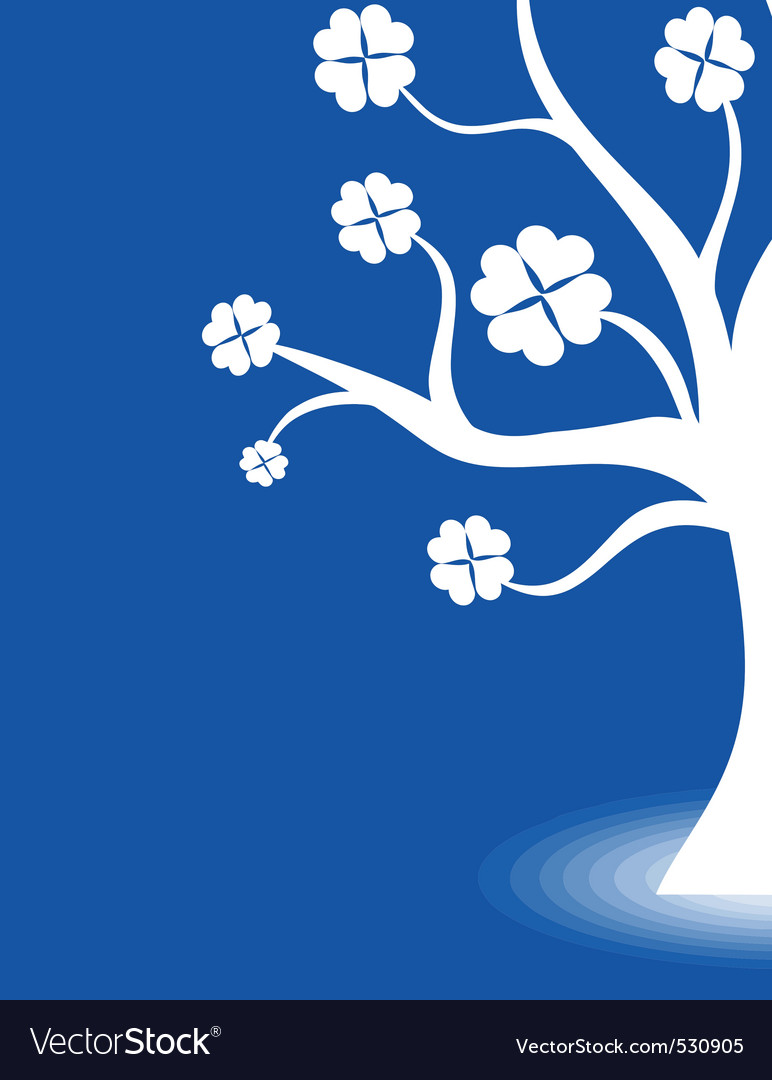 Beautiful abstract art tree on blue background vector | Price: 1 Credit (USD $1)