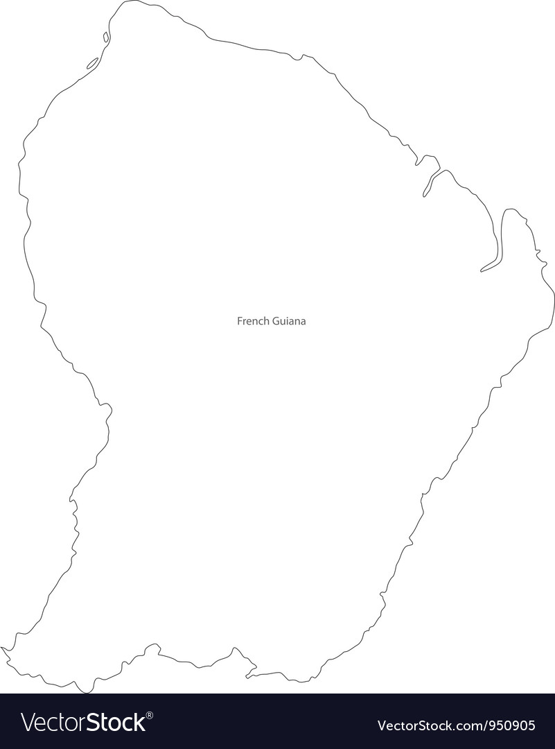 Black white french guiana outline map vector | Price: 1 Credit (USD $1)