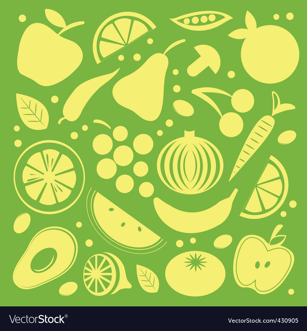Fruit and vegetables pattern vector | Price: 1 Credit (USD $1)