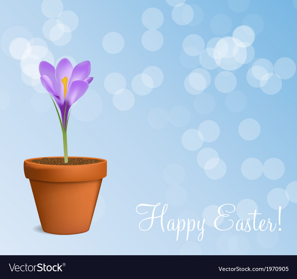 Happy easter card with crocuses vector   Price: 1 Credit (USD $1)