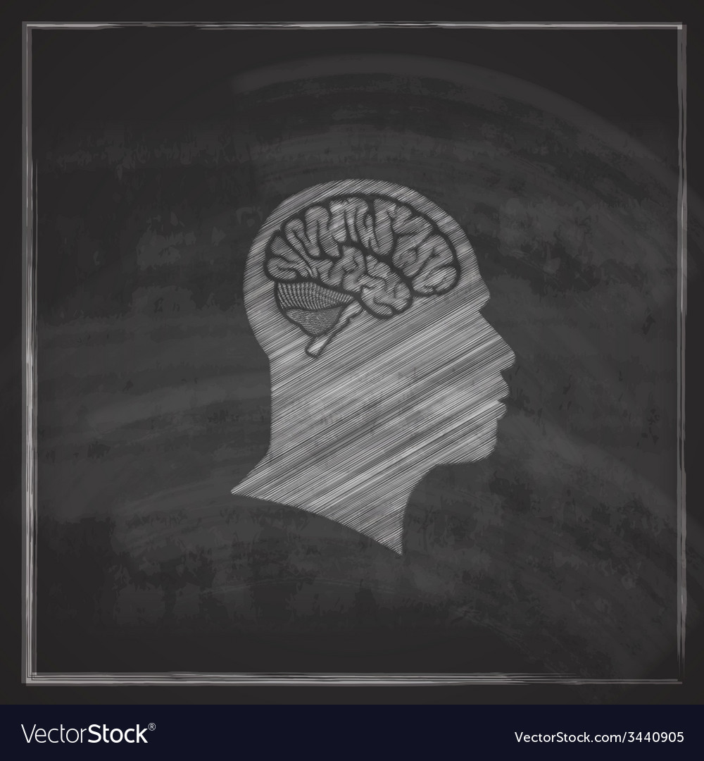 Human head with brain on blackboard background vector | Price: 1 Credit (USD $1)