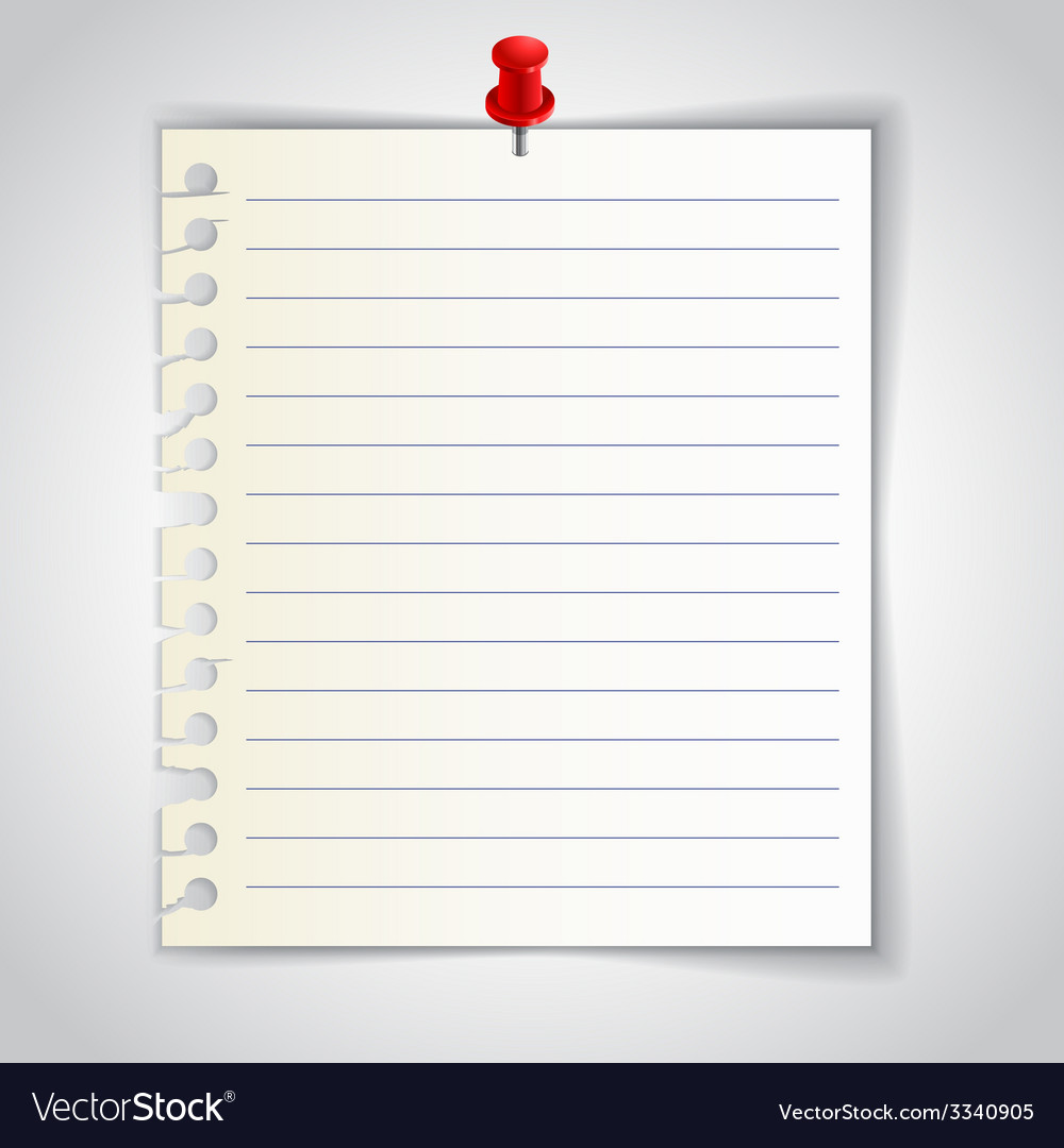 Lined notebook sheet with red pin vector | Price: 1 Credit (USD $1)